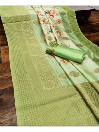 RE - Captivating Green Colored Lichi Jaquard Silk Saree