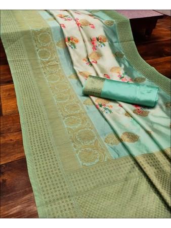 RE - Captivating Rama Colored Lichi Jaquard Silk Saree