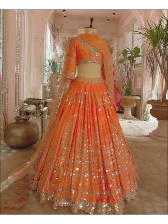 RE - Orange Green color Devsena Silk Lehenga Choli