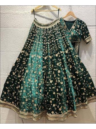 RE - Bottle Green Colored Designer Velvet Lehenga Choli