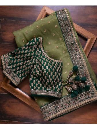 RE - Mehandi Green Colored Vichitra Silk Saree
