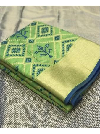 RE - Soft banarasi silk weaving work green saree