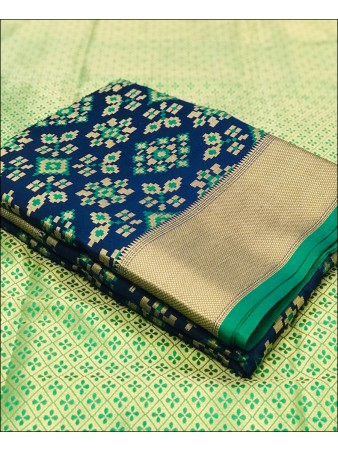 RE - Soft banarasi silk weaving work navy saree