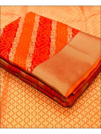 RE - Soft banarasi silk weaving work orange saree