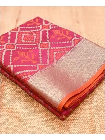 RE - Soft banarasi silk weaving work pink saree