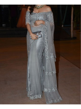 VF - Sophie chaudhary Grey Net Embroidered Saree